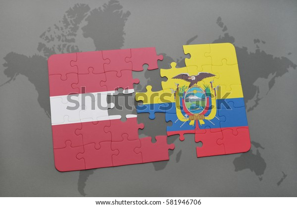 puzzle with the national flag of latvia and ecuador on a world map background. 3D illustration