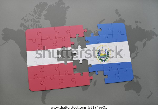puzzle with the national flag of latvia and el salvador on a world map background. 3D illustration