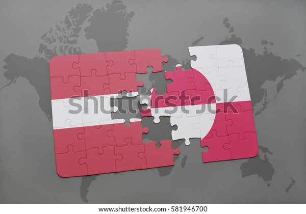 puzzle with the national flag of latvia and greenland on a world map background. 3D illustration