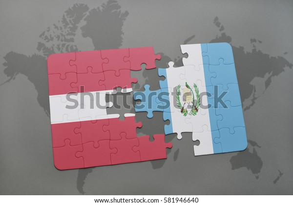 puzzle with the national flag of latvia and guatemala on a world map background. 3D illustration