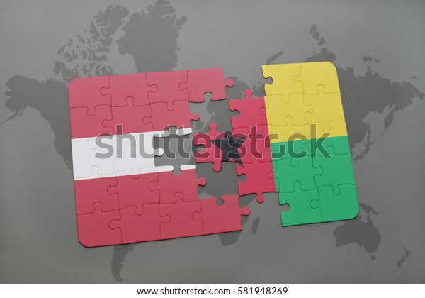puzzle with the national flag of latvia and guinea bissau on a world map background. 3D illustration