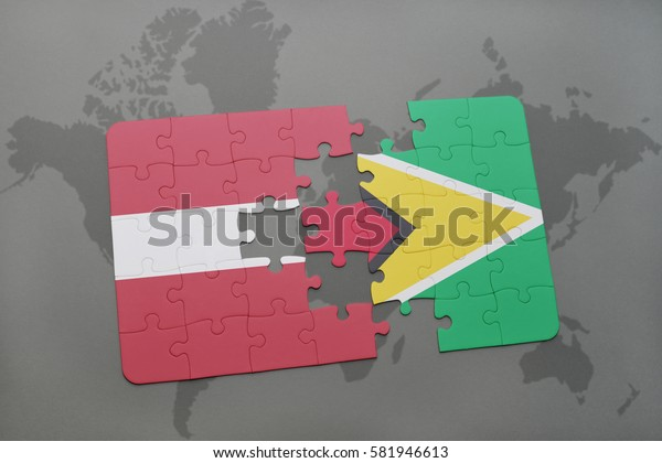 puzzle with the national flag of latvia and guyana on a world map background. 3D illustration