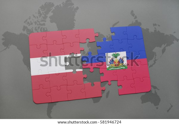 puzzle with the national flag of latvia and haiti on a world map background. 3D illustration