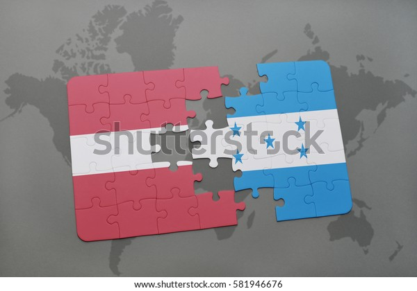 puzzle with the national flag of latvia and honduras on a world map background. 3D illustration