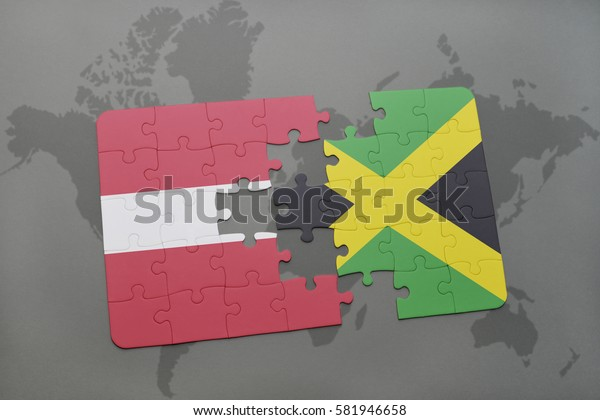 puzzle with the national flag of latvia and jamaica on a world map background. 3D illustration