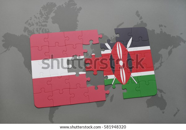 puzzle with the national flag of latvia and kenya on a world map background. 3D illustration