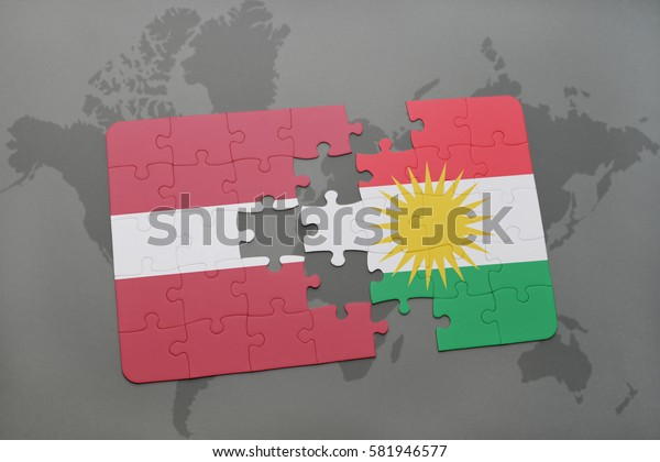 puzzle with the national flag of latvia and kurdistan on a world map background. 3D illustration