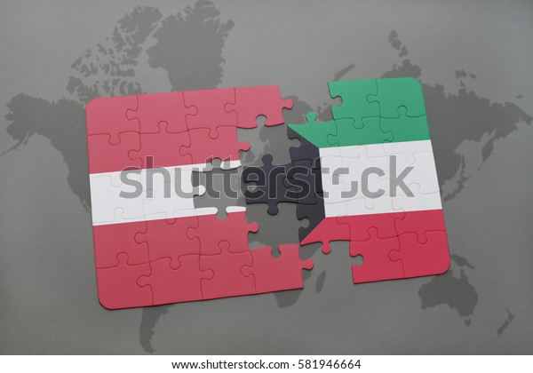 puzzle with the national flag of latvia and kuwait on a world map background. 3D illustration
