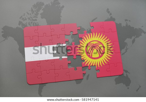 puzzle with the national flag of latvia and kyrgyzstan on a world map background. 3D illustration