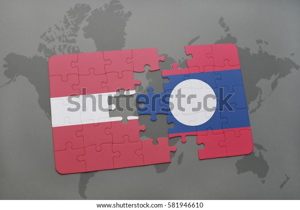 puzzle with the national flag of latvia and laos on a world map background. 3D illustration