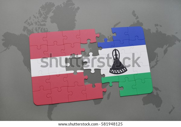 puzzle with the national flag of latvia and lesotho on a world map background. 3D illustration