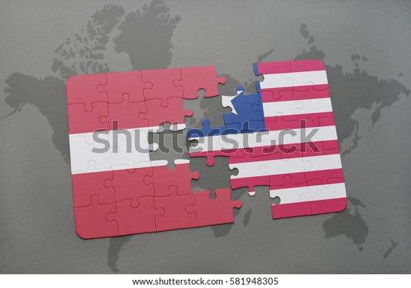 puzzle with the national flag of latvia and liberia on a world map background. 3D illustration