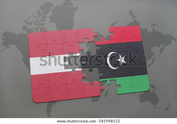 puzzle with the national flag of latvia and libya on a world map background. 3D illustration