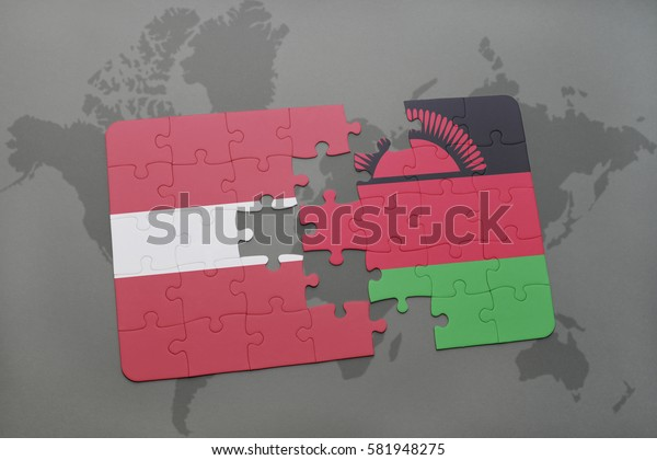 puzzle with the national flag of latvia and malawi on a world map background. 3D illustration