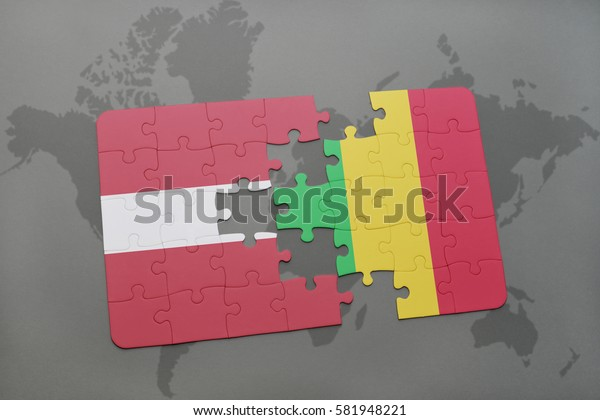 puzzle with the national flag of latvia and mali on a world map background. 3D illustration