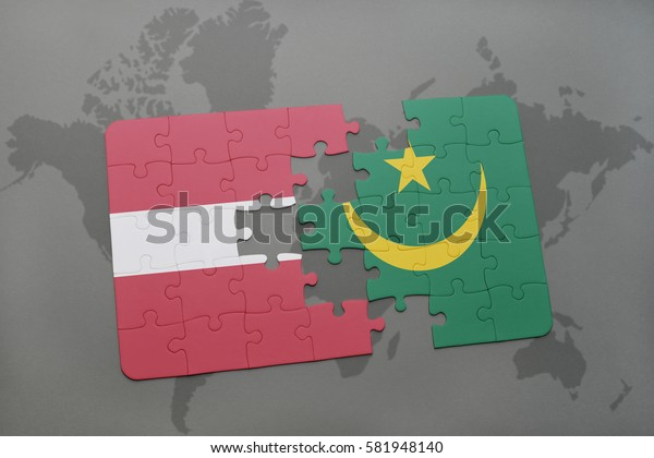 puzzle with the national flag of latvia and mauritania on a world map background. 3D illustration