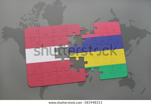 puzzle with the national flag of latvia and mauritius on a world map background. 3D illustration