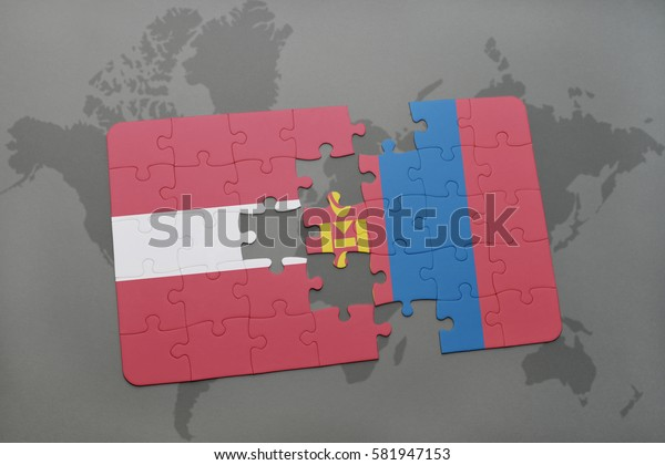 puzzle with the national flag of latvia and mongolia on a world map background. 3D illustration