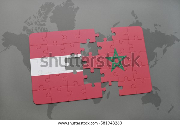 puzzle with the national flag of latvia and morocco on a world map background. 3D illustration
