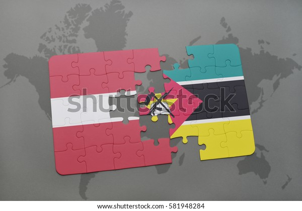 puzzle with the national flag of latvia and mozambique on a world map background. 3D illustration