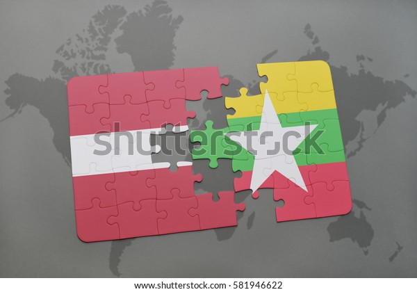 puzzle with the national flag of latvia and myanmar on a world map background. 3D illustration