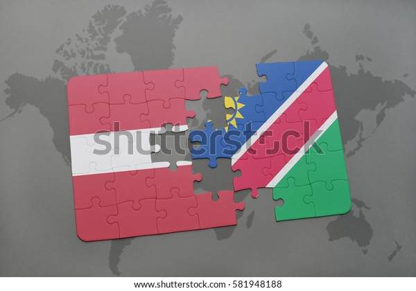 puzzle with the national flag of latvia and namibia on a world map background. 3D illustration
