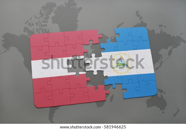 puzzle with the national flag of latvia and nicaragua on a world map background. 3D illustration