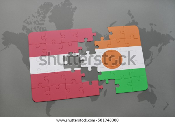 puzzle with the national flag of latvia and niger on a world map background. 3D illustration
