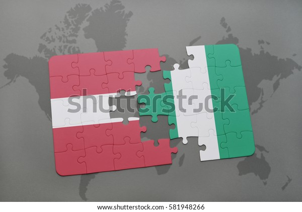 puzzle with the national flag of latvia and nigeria on a world map background. 3D illustration