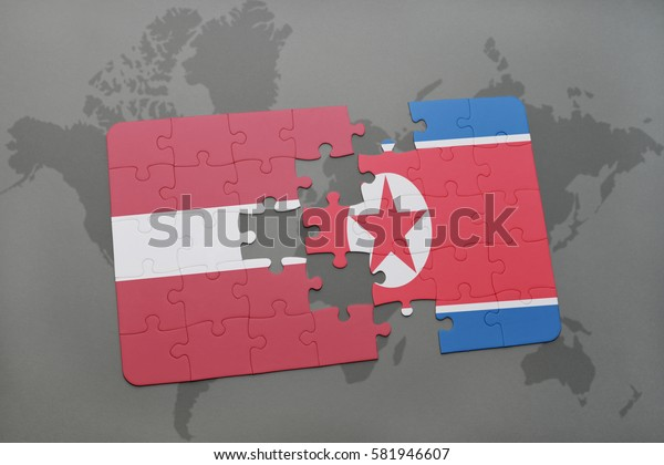 puzzle with the national flag of latvia and north korea on a world map background. 3D illustration