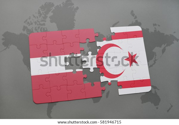 puzzle with the national flag of latvia and northern cyprus on a world map background. 3D illustration
