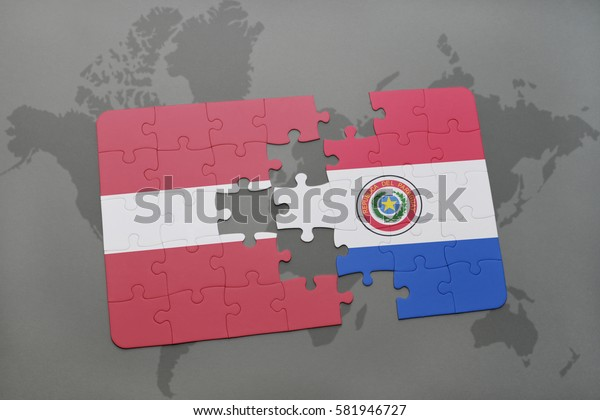 puzzle with the national flag of latvia and paraguay on a world map background. 3D illustration