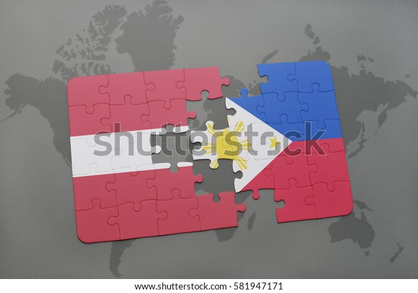 puzzle with the national flag of latvia and philippines on a world map background. 3D illustration
