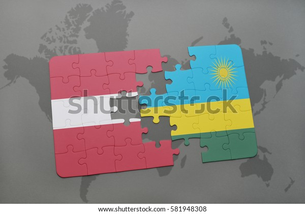 puzzle with the national flag of latvia and rwanda on a world map background. 3D illustration