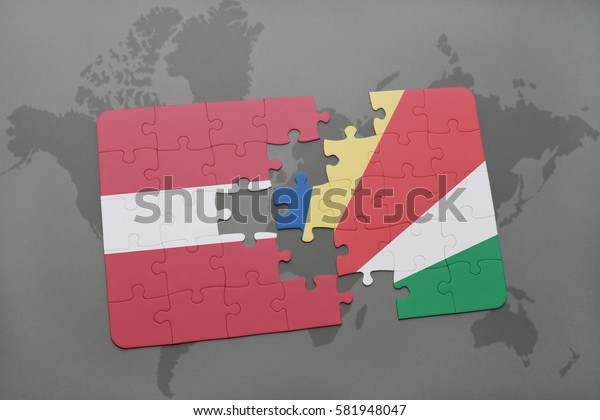 puzzle with the national flag of latvia and seychelles on a world map background. 3D illustration