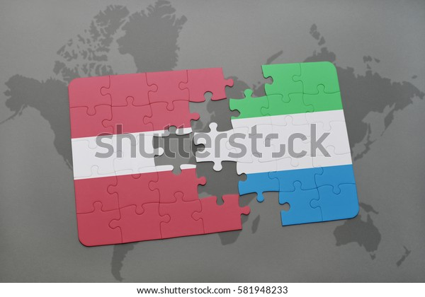 puzzle with the national flag of latvia and sierra leone on a world map background. 3D illustration