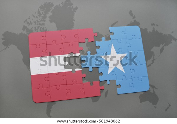 puzzle with the national flag of latvia and somalia on a world map background. 3D illustration