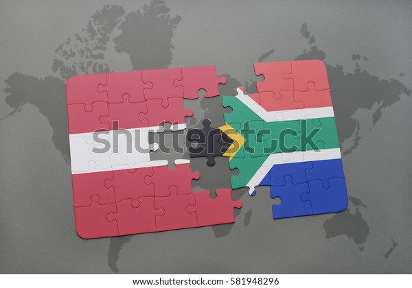 puzzle with the national flag of latvia and south africa on a world map background. 3D illustration