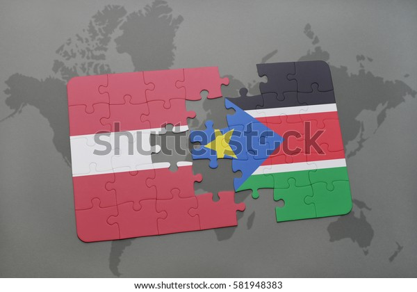 puzzle with the national flag of latvia and south sudan on a world map background. 3D illustration