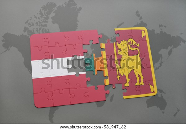 puzzle with the national flag of latvia and sri lanka on a world map background. 3D illustration