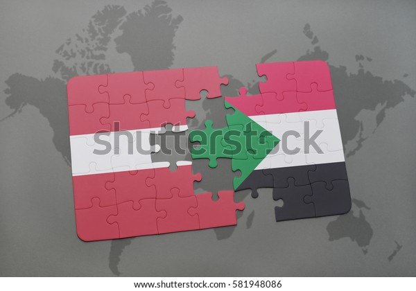 puzzle with the national flag of latvia and sudan on a world map background. 3D illustration