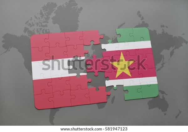 puzzle with the national flag of latvia and suriname on a world map background. 3D illustration