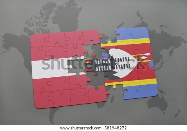 puzzle with the national flag of latvia and swaziland on a world map background. 3D illustration