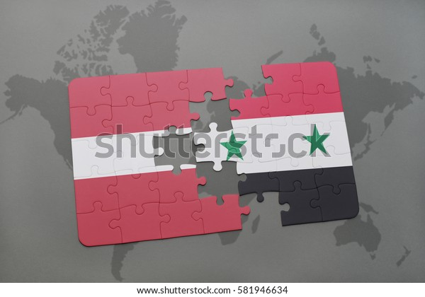 puzzle with the national flag of latvia and syria on a world map background. 3D illustration
