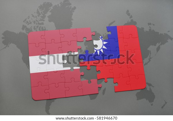 puzzle with the national flag of latvia and taiwan on a world map background. 3D illustration