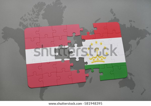 puzzle with the national flag of latvia and tajikistan on a world map background. 3D illustration