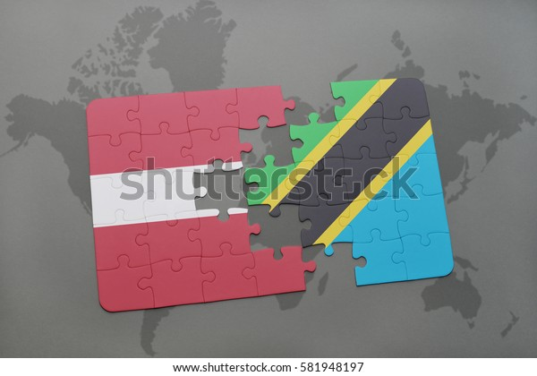 puzzle with the national flag of latvia and tanzania on a world map background. 3D illustration