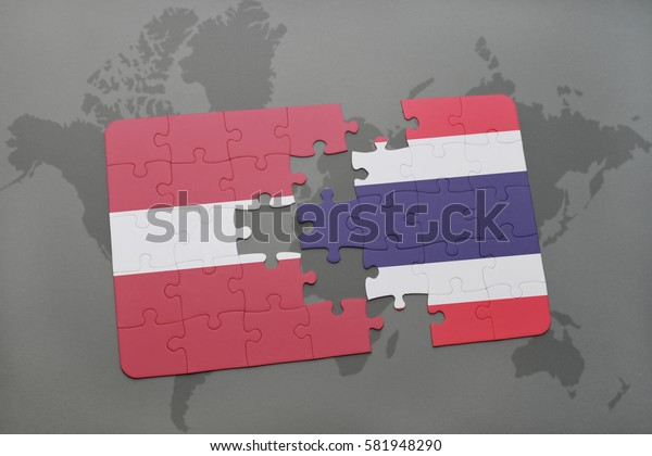 puzzle with the national flag of latvia and thailand on a world map background. 3D illustration
