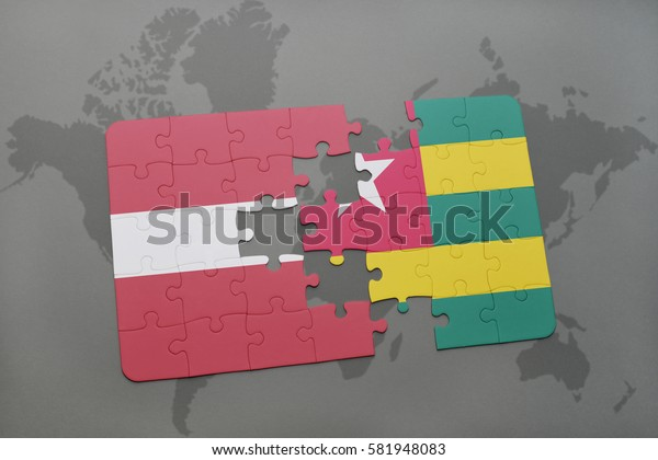 puzzle with the national flag of latvia and togo on a world map background. 3D illustration