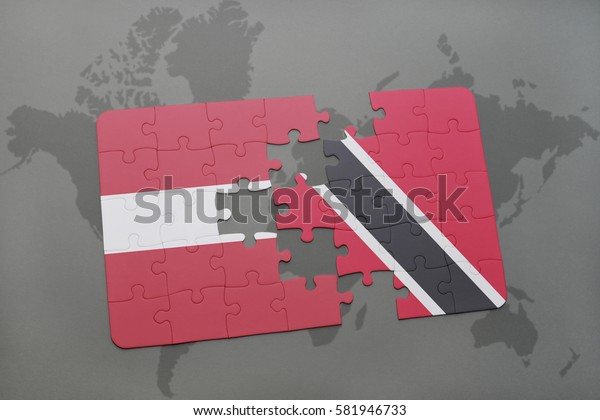 puzzle with the national flag of latvia and trinidad and tobago on a world map background. 3D illustration